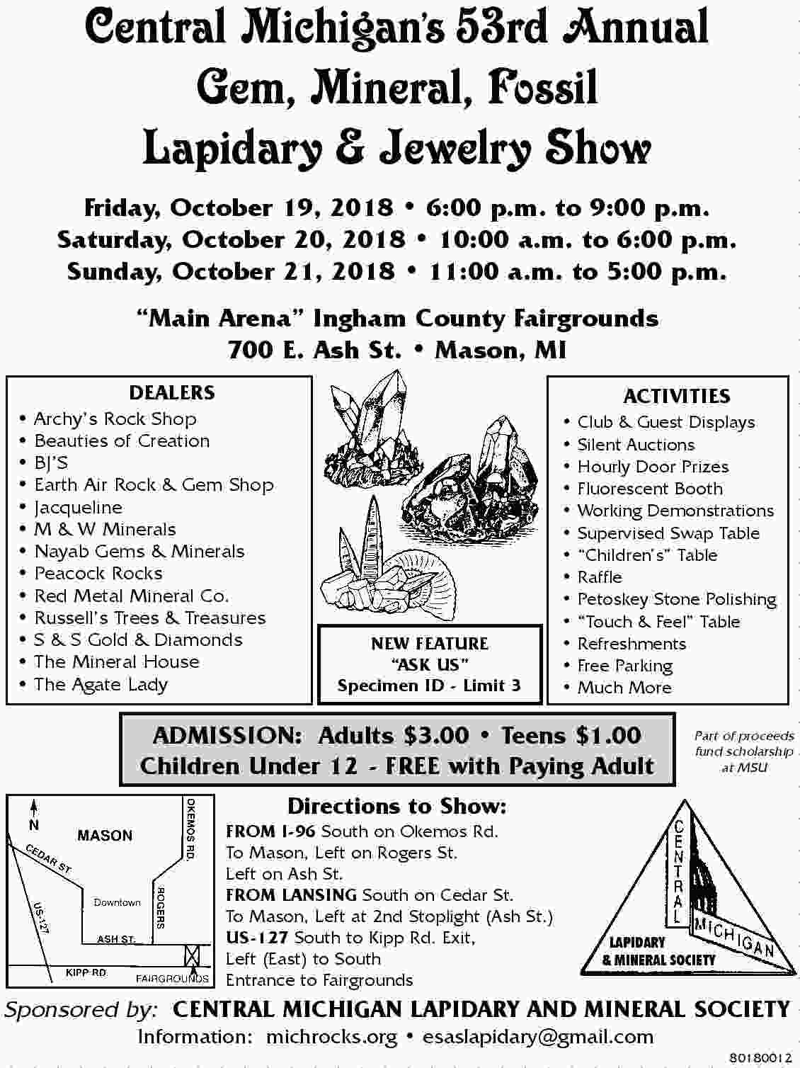 2018   Central MI Lapidary flyer